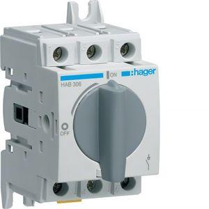Vypínač otočný 3pól 60 A, Hager HAB306