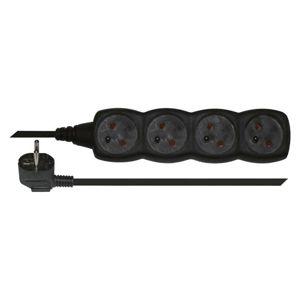 Prodlužovací kabel PVC, 4 zásuvky, 3 m, bez vypínače, černý
