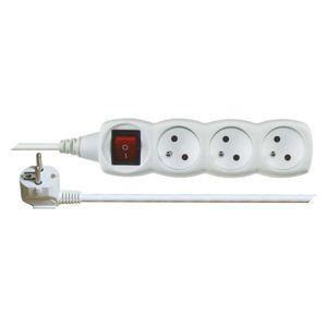 Prodlužovací kabel PVC, 3 zásuvky, 5m, s vypínačem, bílý